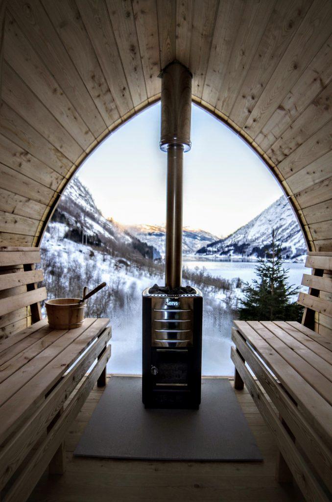 sauna tønde med glas
